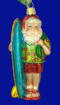 "Santa Surfer Glass Ornament, 5"", OWC #40060"