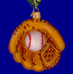 "Baseball Mitt Glass Ornament, 3 3/4"", OWC #44027"