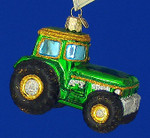 "Green Tractor Glass Ornament, 3"", OWC #46006"