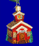 "School House Glass Ornament, 3 1/4"", OWC #20007"