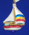 "Sailboat Glass Ornament, 4 1/4"", OWC #46028"