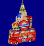 London Tour Bus Glass Ornament