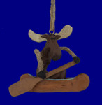 Comical Moose in Canoe Ornament