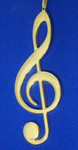 "Mini Musical Note Ornament - Gold Metal - Clef Note, 5 1/4"" long #BG2307"