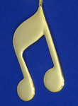 "Mini Musical Note Ornament - Gold Metal - Beamed Note, 4 1/2"" long #BG2310"