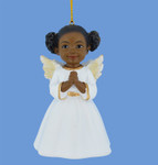 Praying African American Little Girl Angel Ornament