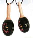 "Mini Maracas Ornament - 5"" - Black Floral, 5"" #BG2299"