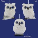 Small White Plush Owl Ornaments