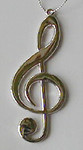 "Mini Music Note Ornament - Lightweight Silver Metal - Clef Note - 3 1/4"" long #HI2629"