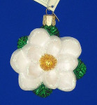 "White Magnolia Flower Glass Ornament, 3 1/4"", OWC #36093"