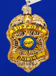 "Police Badge Glass Ornament, 3 3/4"", OWC #36129"