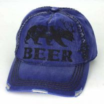 "Bear with Antlers Blue ""Beer"" Vintage Style Baseball Cap"