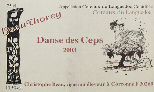 "2003 Beauthorey Danse des Ceps Coteaux du Languedoc 750 mL  Located in Coteaux du Languedoc, Domaine Beauthorey runs a biodynamic enterprise. The winery stretches over 10 acres where the Beauthorey team manually works through viticulture and vinification. The vines here are comprised of grenache and syrah, along with more esoteric varitetals like carignan, aramon, carignan blanc, oeillade, cinsault and alicante. Beauthorey's ""Danse des Ceps"" is composed of syrah and cinsault from vines which average 60 years old. This Languedoc red as simply beautiful, with nuances of lavender, blackberry and long, fine tannins on the finish."