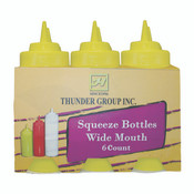16 OZ WIDE-MOUTH SQUEEZE BOTTLE, CLEAR (6PK)