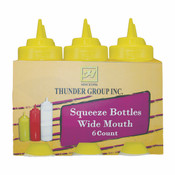 16 OZ WIDE-MOUTH SQUEEZE BOTTLE, YELLOW (6PK)
