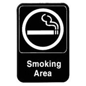 "6"" X 9"" INFORMATION SIGN WITH SYMBOLS, SMOKING AREA"