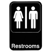 "6"" X 9"" INFORMATION SIGN WITH SYMBOLS, RESTROOMS"