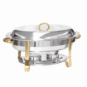 6 QT GOLD ACCENTED OVAL CHAFER