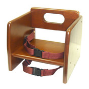 WALNUT FINISH WOOD STACKING BOOSTER SEAT, K/D
