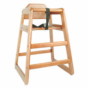 WALNUT FINISH WOOD HIGH CHAIR, K.D.