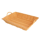 "17"" X 12 3/4"" X 3"" HAND-WOVEN BASKET W/HANDLE, PLASTICS"