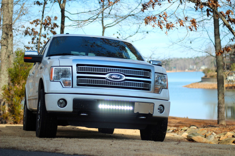 "Ford Platinum Eco boost with a 20"" Led light bar in the grille with cree 10 watt bulbs with single row."