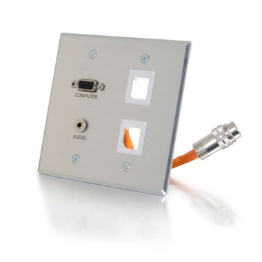 RapidRun VGA + 3.5mm Stereo + 2 Keystones Audio Double Gang Wall Plate - Brushed Aluminum