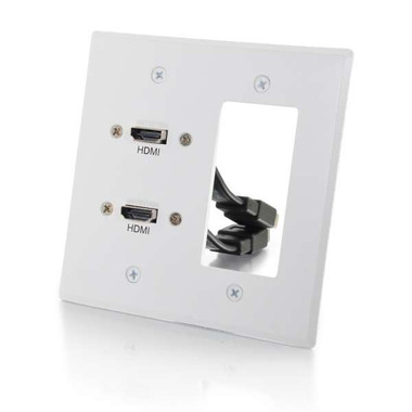 Dual HDMI Double Gang Wall Plate with One Decora Cutout - White