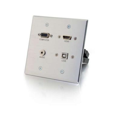 HDMI, VGA, 3.5mm and USB Double Gang Wall Plate - Aluminum (39703)