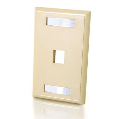 One Port Keystone Single Gang Wall Plate - Ivory (03710)
