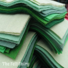 "Greens 9x4.5"" 6 Shades / 12 Sheets - Wool Blend Felt"