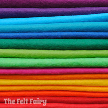 "Bold & Bright 9"" or 12"" Squares 15 Shades - Wool Blend Felt"