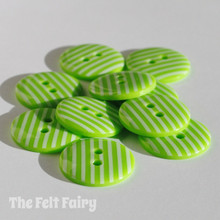 Lime Green Stripy Buttons - 3 Sizes