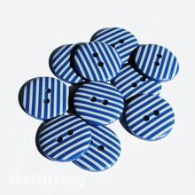 Dark Blue Stripy Buttons - 2 Sizes
