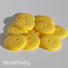 Yellow Stripy Buttons - 2 Sizes