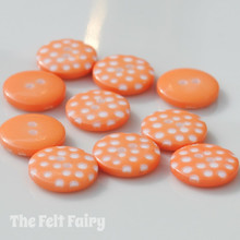 Orange Polka Dot Buttons - 12mm - 10 Buttons