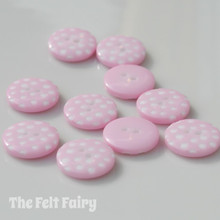 Pale Pink Polka Dot Buttons - 12mm - 10 Buttons