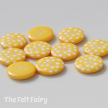 Yellow Polka Dot Buttons - 12mm - 10 Buttons