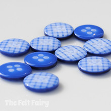 Royal Blue Gingham Buttons - 12mm - 10 Buttons