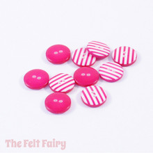 Hot Pink Stripy Buttons - 12mm - 10 Buttons