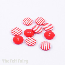 Red Stripy Buttons - 12mm - 10 Buttons