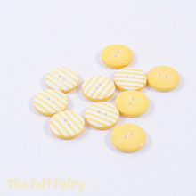 Yellow Stripy Buttons - 12mm - 10 Buttons