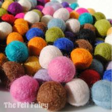 Felt Balls Starter Pack - 20 Mixed Felt Balls - 2cm diameter