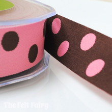 Pink and Brown Reversible Polka Dot Ribbon
