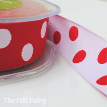 Red and White Reversible Polka Dot Ribbon