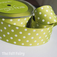 Olive Green and White Grosgrain Polka Dot Ribbon