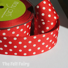 Red and White Grosgrain Polka Dot Ribbon