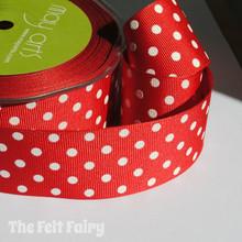 Red and White Grosgrain Polka Dot Ribbon