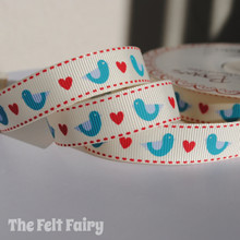 Blue Bird / Heart Grosgrain Ribbon