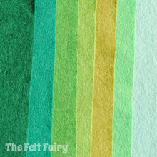Green Fingers - 7 Sheets 7 Shades - Wool Blend Felt